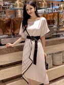 寧莎夏季新款時尚氣質不規則短袖繫帶中長款連身裙子女送腰帶