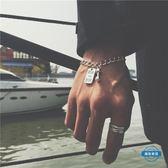 手鍊日韓時尚運動健身小啞鈴手鍊男士鈦鋼不掉色鋼牌手環女款情侶手鍊