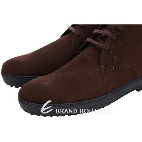 TOD'S 咖啡色麂皮綁帶休閒鞋(男) 1310412-07