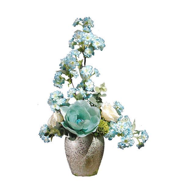 歐式仿真花成品 藝術插花 現代絹花花藝 假花裝飾品擺設花幹花-3373710011