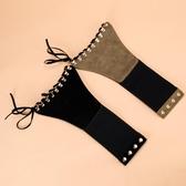 歐美版系帶鉚釘裝飾連身裙腰帶女寬襯衣腰封簡約綁帶塑腰彈力 PA12518『棉花糖伊人』
