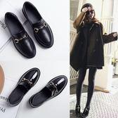 小皮鞋女學生韓版百搭新款春樂福鞋女英倫平底單鞋【販衣小築】