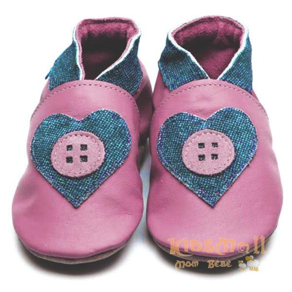 英國製Inch Blue,真皮手工學步鞋禮盒,Esme-Rose Pink/Denim