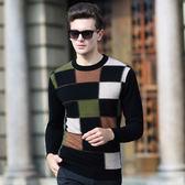 圓領針織衫-冬季羊毛百搭加厚格子新款男毛衣72k14【巴黎精品】