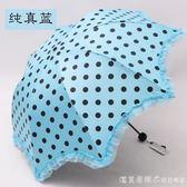 遮陽傘黑膠防曬防紫外線太陽傘三摺疊蕾絲小清新兩用晴雨傘 漾美眉韓衣
