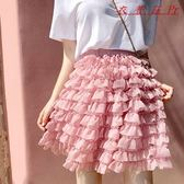 雪紡蛋糕裙半身裙女短裙A字蓬蓬裙子