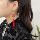 耳環 網紅爆款雙c耳環2021年新款潮夏款高級氣質珍珠耳釘女小香風耳飾 晶彩 99免運