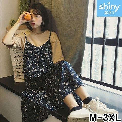 【V2275】shiny藍格子-甜美復古.小清新碎花細肩帶連身長裙