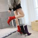 細跟短靴 高跟中筒馬丁靴女20秋冬新款尖頭鉚釘彈力靴襪靴加絨棉靴 8號店