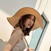 沙灘帽夏季大帽檐大沿草帽防曬遮陽帽沙灘帽女夏天太陽帽可折疊海邊帽子 3c公社