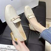 小皮鞋 上班鞋女不累腳軟底職業舒適軟皮英倫小皮鞋久站黑色平底方頭單鞋 韓國時尚週