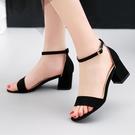 時尚派小碼33涼鞋新款女平跟中跟低跟一字帶扣粗跟34碼到大碼40碼 【快速出貨】