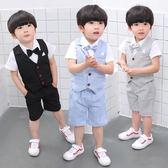 男童禮服寶寶套裝夏季周歲花童兒童西服英倫紳士小西裝 KB1971【野之旅】