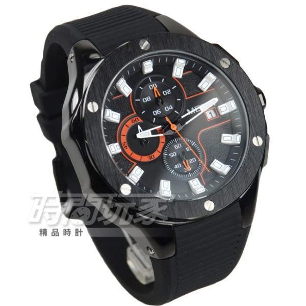 MEGIR 粗曠感大錶徑真三眼時尚男錶 防水手錶 日期顯示 學生錶 橡膠錶帶 IP黑電鍍x黑 ME2053槍黑