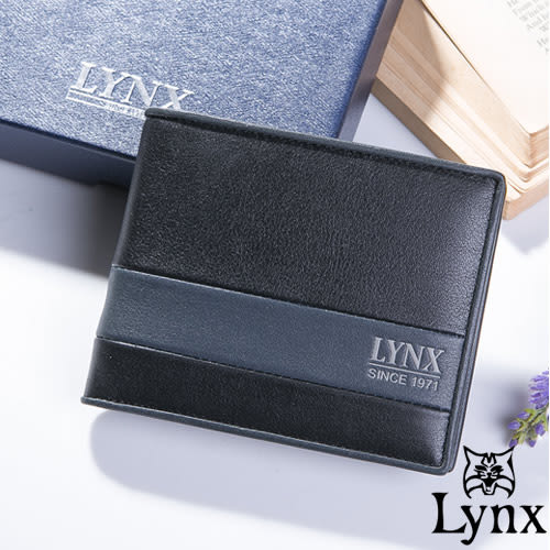 Lynx - 山貓藝術藍墨真皮系列左右翻4卡零錢包短夾