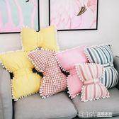 Ins北歐全棉蝴蝶結抱枕沙發靠枕少女心飄窗裝飾枕頭可愛靠墊床頭igo 溫暖享家