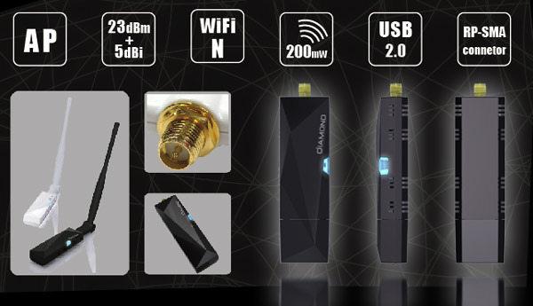 「Diamond鑽石機」11N 高功率300Mbps無線網路卡(AFD-N01W)