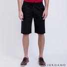 【GIORDANO】男裝純棉抽繩鬆緊腰休閒短褲(09 標誌黑色)