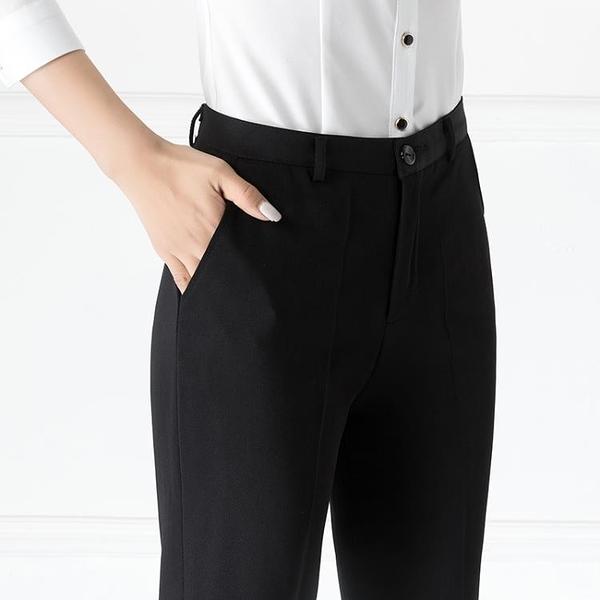西裝褲 西裝褲夏黑色直筒褲上班職業顯瘦正裝工作褲工裝高腰薄款西褲女 歐歐