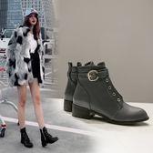 丁果、大尺碼女鞋34-46►2018歐美明星款簡潔百搭側扣帶中跟短靴子*3色
