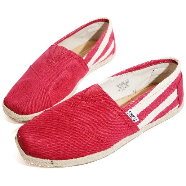 【TOMS】男款-TOMS UNIVERSITY RED 紅色粗條紋懶人帆布鞋【現貨】