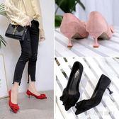新款春季女鞋細跟尖頭高跟鞋貓跟韓版百搭絨面紅色中跟婚鞋單鞋ol DR14152【男人與流行】