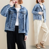 韓版上衣外套秋裝新款大碼韓版不規則下擺牛仔外套夾克R31B-9296.胖胖唯依二店