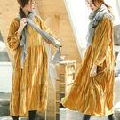 洋裝-進口絲絨長袖中長裙/設計家 Q8927