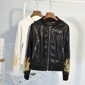 皮衣外套-立領花朵刺繡短款女夾克2色73on40【巴黎精品】
