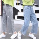 女童牛仔褲 夏裝正韓洋氣小女孩中大兒童寬鬆直筒女寶寶牛仔褲-Ballet朵朵