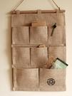 掛袋 寢室布藝條紋掛式整理手機收納掛袋儲物袋壁掛多層棉麻掛墻置物袋寶貝計畫 上新
