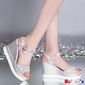 楔型涼鞋 厚底鞋 涼鞋 坡跟  松糕 魚嘴 防水臺 高跟 一字帶