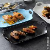 烘烤盤黑白色陶瓷盤燒烤盤西餐盤意大利面盤子西餐廳酒店飯店餐具 igo街頭潮人