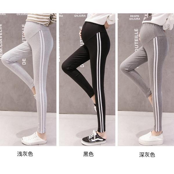 側邊雙條運動風高腰孕婦【腰圍可調】內搭褲 三色【CTH33607】孕味十足 孕婦裝