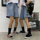 夏季韓版ins原宿風褲子情侶牛仔褲寬鬆高腰直筒短褲女潮
