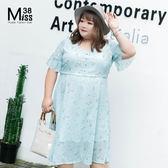Miss38-(現貨)【A06270】大尺碼洋裝 公主淺藍碎花 高收腰顯瘦 雪紡 喇叭短袖 連身裙-中大尺碼女裝