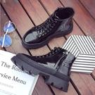 找到自己品牌 歐美 女 時尚 潮 休閒 綁帶 馬丁靴 黑色