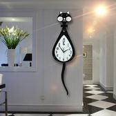 搖尾貓咪鐘表掛鐘客廳現代wy月光節