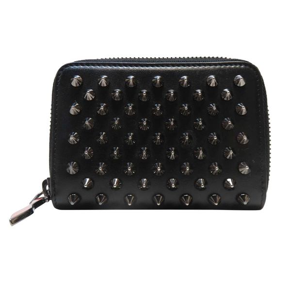 Christian louboutin 黑色牛皮單面鉚釘零錢包 Panettone Coin Purse Wallet BRAND OFF