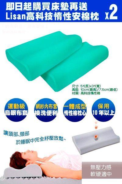 Lisan反壓力半惰記憶床墊〈8cm雙人加大〉送手提收納袋+高科技惰性枕兩入 台灣製-賣點購物