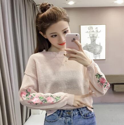 【PU26】韓版圓領刺繡花薄款冰絲針織衫 防曬衫 上衣339