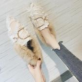 毛毛鞋女春外穿2020新款帶毛豆豆鞋網紅同款百搭快手春季加絨鞋子 藍嵐