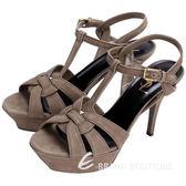 YSL Saint Laurent TRIBUTE 麂皮繞帶高跟涼鞋(可可色) 1510467-63