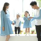 韓版圓領藍白拼接色長袖上衣親子裝(女大人)