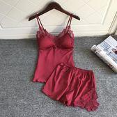 性感睡衣套裝女聚攏小胸夏季火辣成人冰絲綢帶胸墊吊帶睡褲兩件套