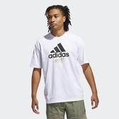 ADIDAS 白 黑 金LOGO 短袖T恤 短T 男 (布魯克林) GJ0294