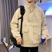 秋季立領寬鬆工裝外套衛衣男潮流帥氣ins學生褂子男生bf原宿夾克