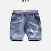 男童夏季薄款休閒牛仔中褲女童寶寶時尚五分褲短褲沙灘褲 萬客居