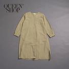 Queen Shop【01084735】女裝 百搭素色V領長版洋裝 兩色售 S/M*現+預*