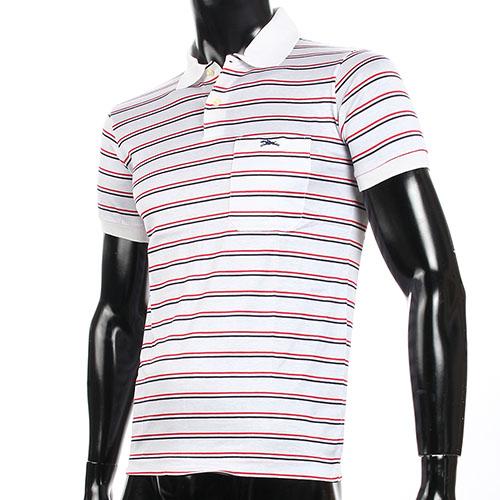 LONGCHAMP經典純棉雙條紋短袖POLO衫(白/紅)179240-3